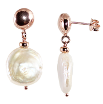 Simply Italian Rosegold Plated White Coin Pearl Stud Rose Gold Earrings in New Zealand