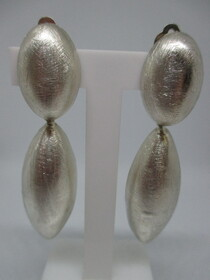 Brushed Silver Pod Clip-On Earrings Napier New Zealand