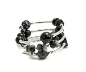 Riley Burnett black slinky sterling silver bracelet with agate, jade and onyx in New Zealand