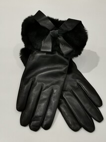 Cat Baloo Black Leather Gloves with Fur Trim Napier New Zealand