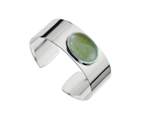 Najo rainforest sterling silver cuff with prehnite stone Napier New Zealand